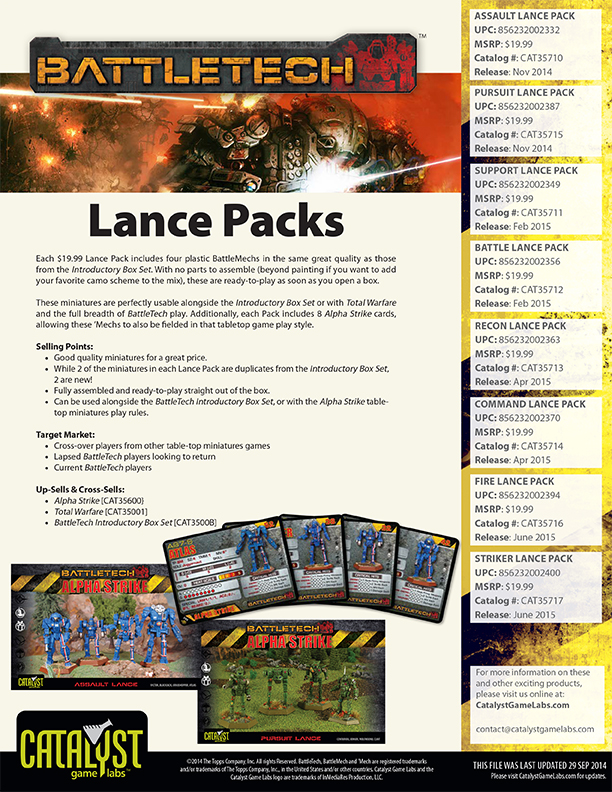 BattleTech Lance Packs Release Schedule