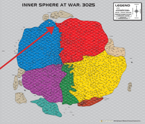 Map of the Inner Sphere 3025 with Arrow